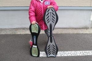 2台のボードを持つ女の子の写真。