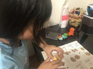 ナノブロックを組み立てる子どもの写真